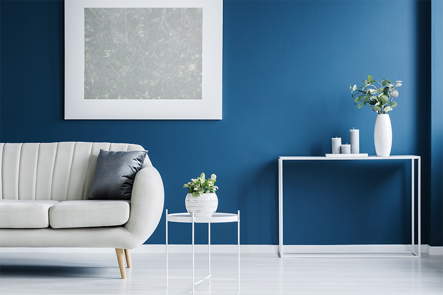 living-room-with-new-blue-paint-at-interior-walls-charlotte-nc